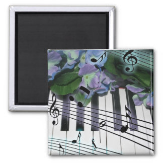 Piano Keys and Flowers 2 Inch Square Magnet