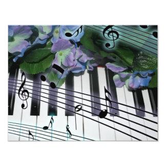 "Piano Keys and Flowers 4.25"" X 5.5"" Invitation Card"
