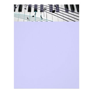 Piano Keys and Flowers Personalized Letterhead