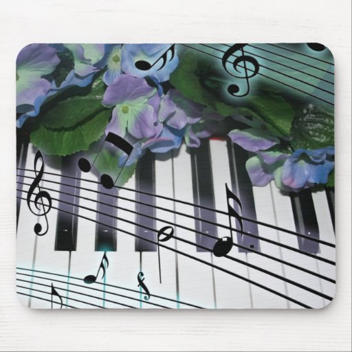 Piano Keys and Flowers Mouse Pad