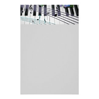 Piano Keys and Flowers Stationery Design