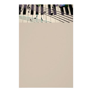 Piano Keys and Flowers Stationery Paper