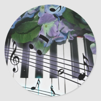 Piano Keys and Flowers Classic Round Sticker