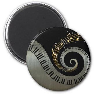 Piano Keys and Gold Music Notes Aluminium Fridge Magnet
