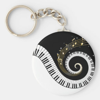 Piano Keys and Gold Music Notes Basic Round Button Keychain
