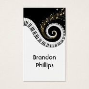 Piano Keys And Gold Music Notes Business Card at Zazzle