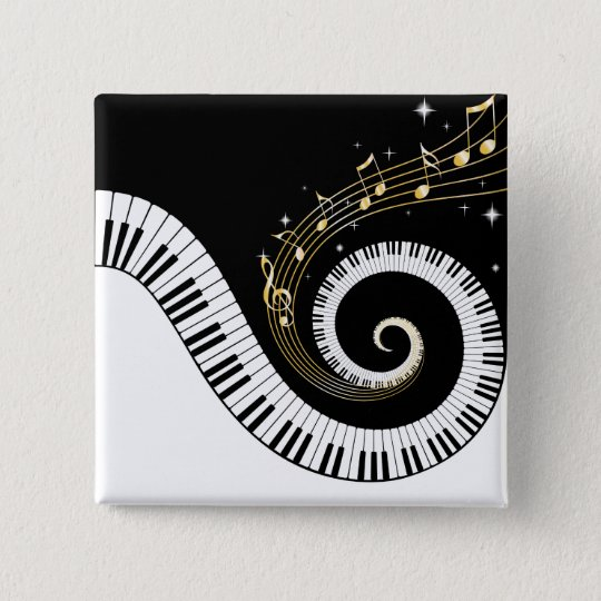 Piano Keys and Gold Music Notes Button