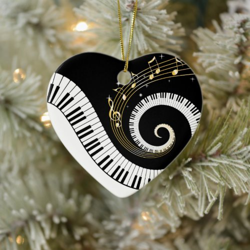 Piano Keys and Gold Music Notes Ceramic Ornament