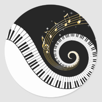 Piano Keys and Gold Music Notes Classic Round Sticker