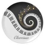 Piano Keys and Gold Music Notes Dinner Plate