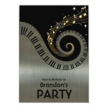 Piano Keys and Gold Music Notes Invitations