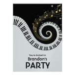 Piano Keys and Gold Music Notes Invitations
