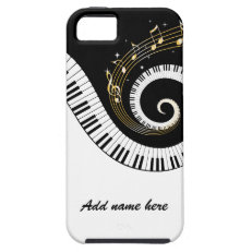 Piano Keys and Gold Music Notes iphone5 iPhone 5 Case