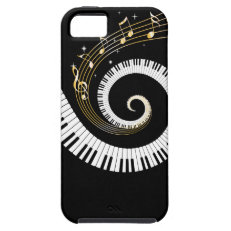 Piano Keys and Gold Music Notes iPhone 5 Case