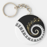 Piano Keys and Gold Music Notes Keychain