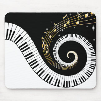 Piano Keys and Gold Music Notes Mouse Pad