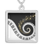 Piano Keys and Gold Music Notes Square Pendant Necklace