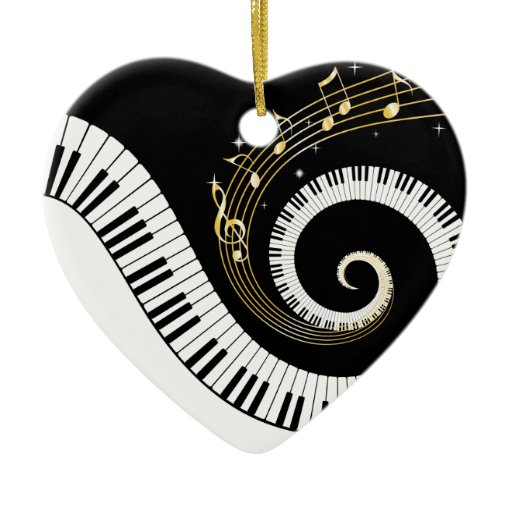 Piano Keys And Gold Music Notes Double-Sided Heart Ceramic