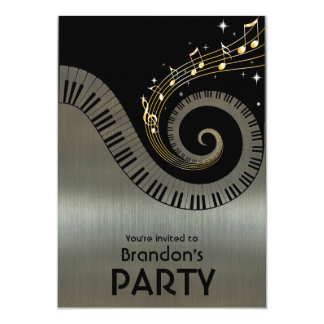 Piano Keys and Gold Music Notes Party Card