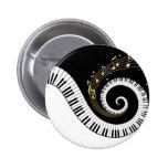 Piano Keys and Gold Music Notes Pin