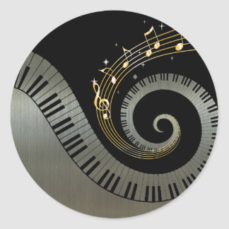 Piano Keys and Gold Music Notes silver Classic Round Sticker