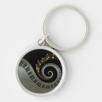 Piano Keys and Gold Music Notes Silver-Colored Round Keychain