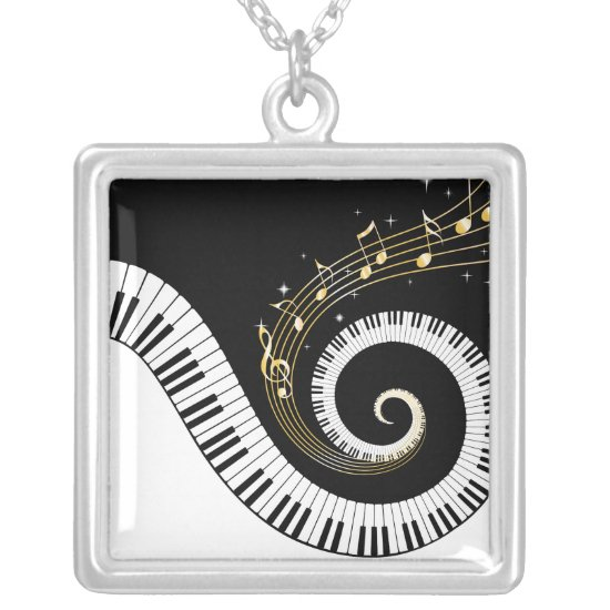 Piano Keys and Gold Music Notes Silver Plated Necklace
