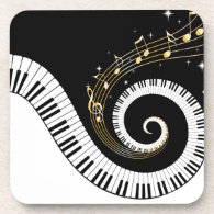 Piano Keys and Gold Music Notes Stickers Drink Coaster