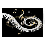 Piano Keys and Golden Music Notes