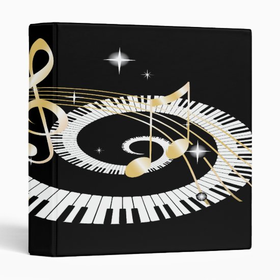 Piano Keys and Golden Music Notes 3 Ring Binder