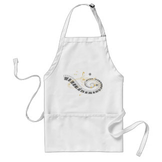 Piano Keys and Golden Music Notes Adult Apron