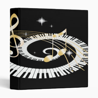 Piano Keys and Golden Music Notes Binders