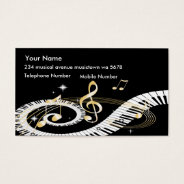 Piano Keys And Golden Music Notes Business Card at Zazzle
