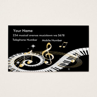 Piano Keys and Golden Music Notes Business Card
