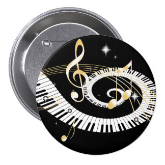 Piano Keys and Golden Music Notes Button