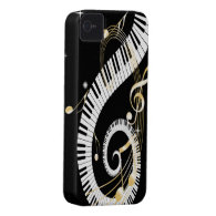 Piano Keys and Golden Music Notes iPhone 4 Case-Mate Cases