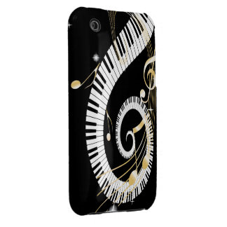 Piano Keys and Golden Music Notes Case-Mate iPhone 3 Case