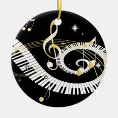 Piano Keys And Golden Music Notes Ceramic Ornament at Zazzle
