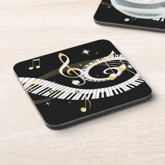 Piano Keys and Golden Music Notes Coaster