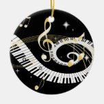 Piano Keys and Golden Music Notes Double-Sided Ceramic Round Christmas Ornament