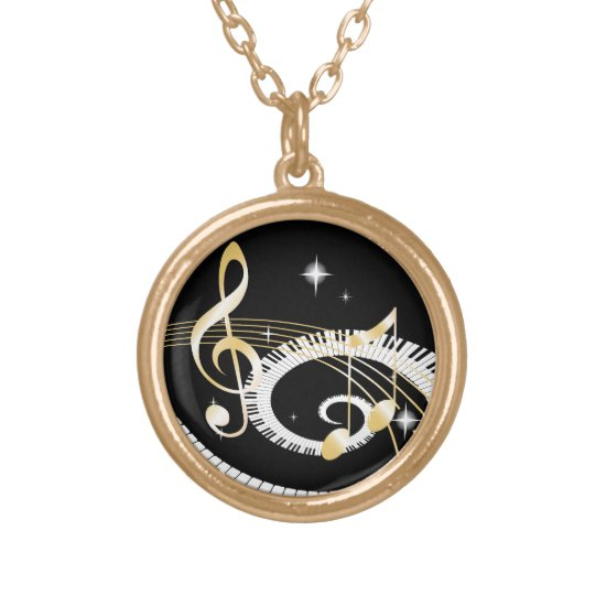 Piano Keys and Golden Music Notes Gold Plated Necklace