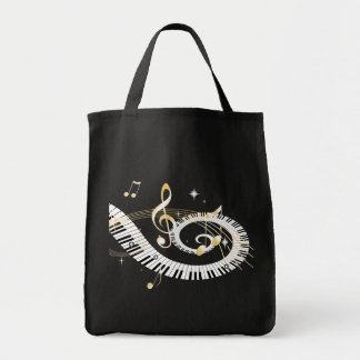 Piano Keys and Golden Music Notes Grocery Tote Bag