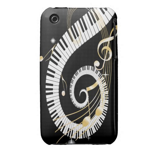 Piano Keys and Golden Music Notes iPhone 3 Cover