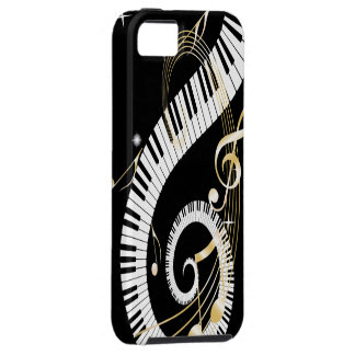 Piano Keys and Golden Music Notes iPhone 5 Cases
