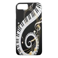 Piano Keys and Golden Music Notes iPhone 7 Case