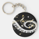 Piano Keys and Golden Music Notes Basic Round Button Keychain