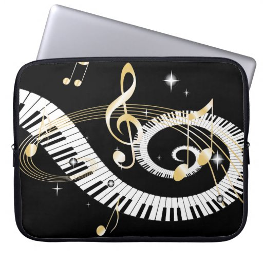 Piano Keys and Golden Music Notes Laptop Computer Sleeve