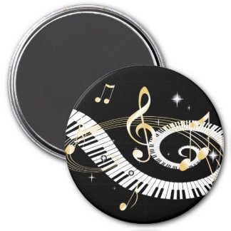 Piano Keys and Golden Music Notes Fridge Magnets