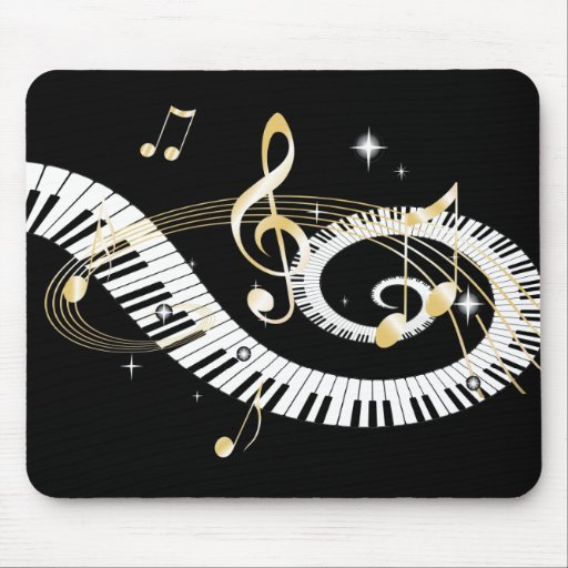 Piano Keys and Golden Music Notes Mouse Pad