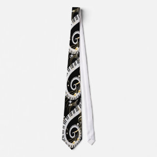 Piano Keys and Golden Music Notes Neck Tie
